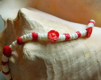 Coral Garden ~ Red Bamboo Coral, White Clam Puka Shell, Red Flower, Bracelet, Anklet, Beach