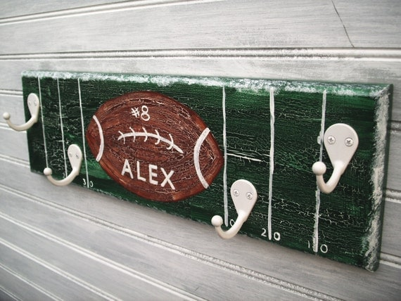 Football Team Player Rack Hanger Boys Sports Room Decor Wall 4 Hook  Personalized Name Team Colors Sports Room Decor Handpainted MTO Custom