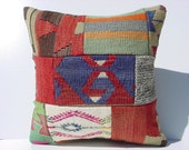 "HANDWOVEN Vintage Turkish Kelim Patchwork Pillow Cover  16"" X 16"",Tribal Pillow,Vintage Kilim Pillow,Throw Pillow"