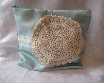 Doily Makeup Bag, blue Cosmetic case, Wide Openening Cosmetic Case