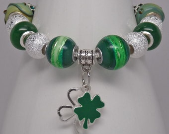 A WEE BIT IRISH:  Eropean Style Large Hole Bead Green Shamrocks St. Patricks Day Bracelet