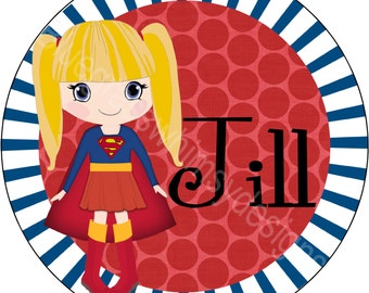 "Super Girl 10"" Melamine Plate for your little superhero"