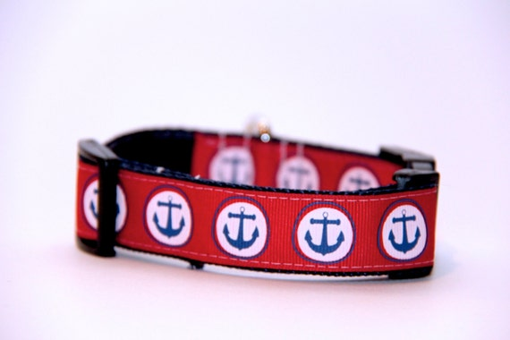 Nautical Dog Collar, FREE SHIPPING, adjustable dog collar, nautical, anchor