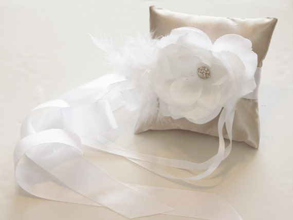Items similar to ivory pillow ring for dogs white flower for Dog wedding ring bearer pillow
