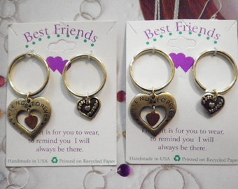 2 Vintage Goldplated Best Friends Forever Heart Key Rings