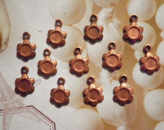 12 Coppercoated 4mm Pendant Settings