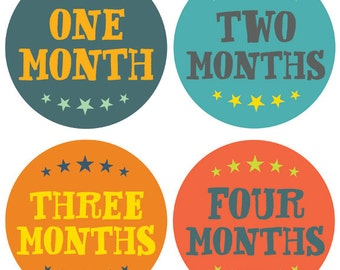 Monthly Baby Sticker Boy with Stars - Hand Lettering - Months 1-12 by Lucy Darling