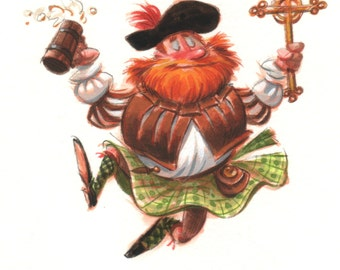 Dancing Scots highlander with ale and crucifix