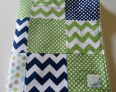 Minky Baby Boy Patchwork Quilt Blanket Riley Blake Chevrons and Dots Michael Miller Navy Green 2 Sizes--Made to Order