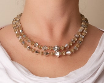 Vintage Two Strand Crystal Necklace