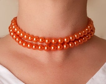 Vintage Coro Peach Bead Collar Necklace