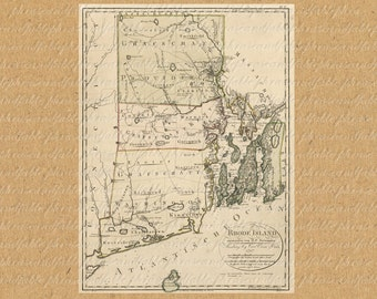 Map of Rhode Island From The 1700s Digital Download America United States New World Map 207  Providence Newport Warwick Cranston Pawtucket
