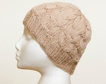 Knit Beanie,  Cabled Beige Hat, Womens Hat, Mens Hat, Stone Knitted Cable Beanie