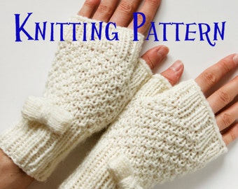 Instant Download PDF Knitting Pattern - Little Bows Fingerless Mittens, Knit Fingerless Gloves, Wrist Warmer Pattern, DIY Knit mittens