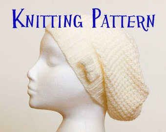 Instant Download PDF Knitting Pattern - Little Bow Slouchy Beanie, Hat Knitting Pattern, Slouch Hat Instructions, DIY Knit Hat