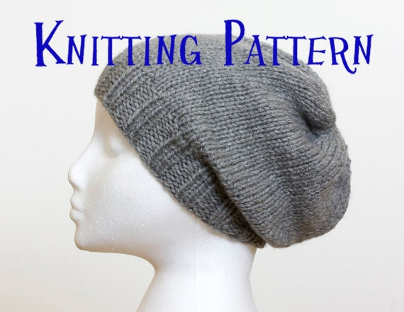 Download PDF Knitting Pattern - Slouchy Beanie, Hat Knitting Pattern ...