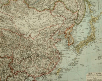 1897 Antique map of CHINA and JAPAN. 119 years old chart