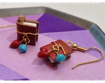 Leather Mini Book Earrings, December Birthstone Turquoise Swarovski Crystal with Surgical Steel Earwires - GE40