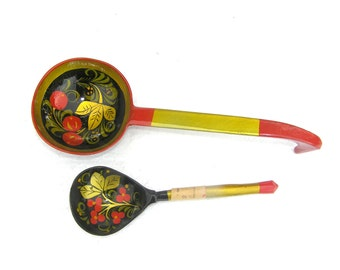 Khokhloma spoon set Russian folk art Vintage khokhloma Large wooden spoon Handmade wood spoon Huge spoon Colorful kitchen decor Wooden spoon