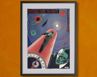 A Trip To Mars, Soviet Movie Poster, 1926 - 8.5x11 Poster Print - also available in 13x19 - see listing details