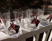 Set of six Kentucky Derby glasses