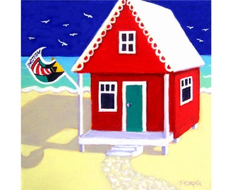 Colorful Beach Cottage Folk Art 8x8 Glicee Print from original painting Whimsical Seashore Houses  - Tiny Red Cottage by the Sea - Korpita