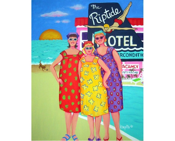 Colorful Funny Women Beach Fifties Vacation MuuMuus Dog 11x14 Glicee Print Tourist Season RipTide Motel from original painting Korpita ebsq
