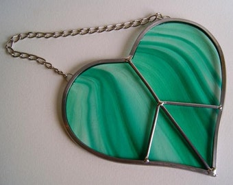 Valentine's Day Gift Green Peace Sign Heart Love Stained Glass Suncatcher Gift for Lover - Select your own color