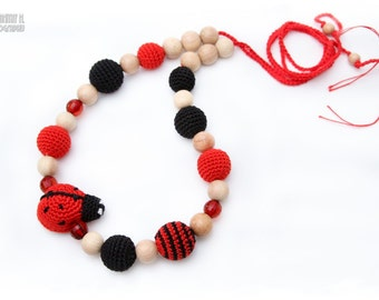 Nursing Juniper necklace / Breastfeeding Teething necklace, Teething amigurumi toy Ladybug