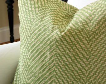 Schumacher Chevron d'Ete Indoor Outdoor Pillow Cover in Grass. Sunbrella fabric.