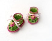 Baby Crochet Sandals, baby shower, Hot Pink and green baby girl sandals barefoot