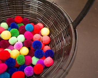 "1"" Small Yarn Pom Pom, Handmade Pompoms, Craft Supply Balls, Party Pom Pom,Yarn Balls, Garland Pom Poms, ,Assorted Colors 50+ Pom Pom"