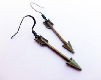 Arrow Earrings, Bronze Arrow Earrings, Antiqued Brass Arrow Earrings, Little Arrow Earrings
