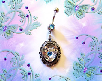 Belly Ring, Antique Silver Cameo Crystal Heart, With Blue Crystal, Belly Button Navel Ring, Belly Button Jewelry For Women and Teens
