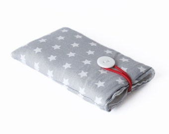 case for iPhone gray star Smartphone cover fabric bag handmade 6, 4S, 4, 5, 5S 5C
