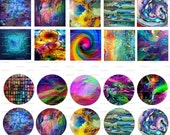 Abstract Art, Digital Collage, Instant Download, 1 inch, 1.5 inch, 30 x 40 mm, Circles, Squares, Ovals  / 126