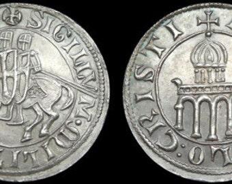 Knights Templar Denarius token pewter