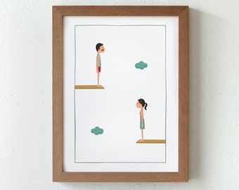 Illustration, Print, Jump to the space (couple), Tutticonfetti, Wall art, Art decor, Hanging wall, Printed art, Decor home, Gift idea, Home