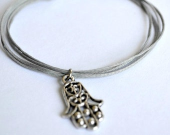 Hamsa Bracelet, cord bracelet with a hamsa charm and a gray wax string. Judaica bracelet, jewish jewelry, from Israel, gift for her