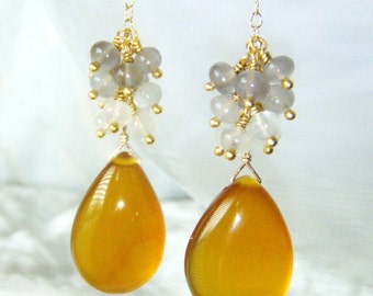 Amber chalcedony & moonstone cluster earrings, gold jewelry