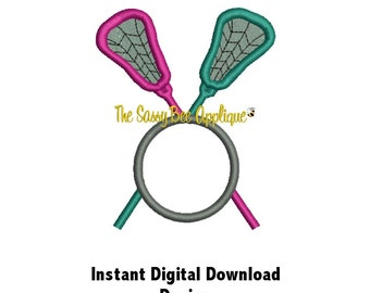 DD LACROSSE Sticks and Ball Applique - Machine Embroidery Design - 3 Hoop Sizes - 2 Designs - Instant Download