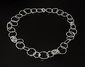 Sterling Silver Necklaces one of a kind, oval circles and spirals  Jewelry Handmade