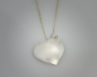 Sterling Silver Heart Necklace, brushed finish, One of a kind Jewelry Handmade