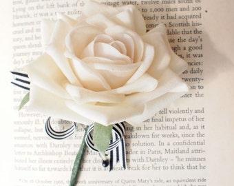 White Rose Wedding Boutonniere Corsage Everlasting Keepsake