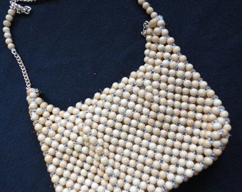 Vintage Natural Wooden Beaded Rectangle Handbag Made in Japan