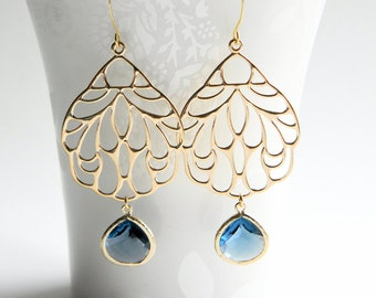 Gold Dangle Earrings - Gold Filigree Pendant Dangle Earrings with Sapphire Blue Faceted Drops