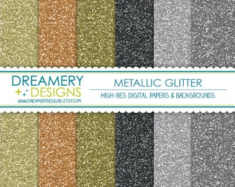 Metallic Glitter Digital Papers - INSTANT DOWNLOAD - JPGs - Scrapbooking, Baby Shower, Invitations, Wrapping Paper