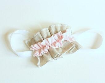 Linen and Pink Jersey Ruffle Headband on White Velvet Elastic Band-  Baby Headband - Photo Prop