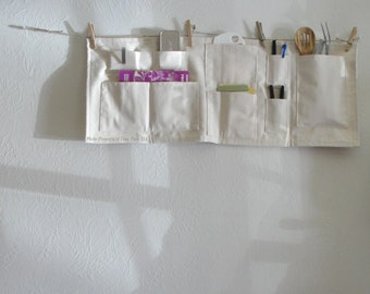 Organizer Space Saver - Hang Anywhere Canvas Wall Pockets - Heavy Duty & Washable