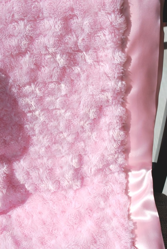 Baby Blanket - Minky Rosette and Satin - Pink